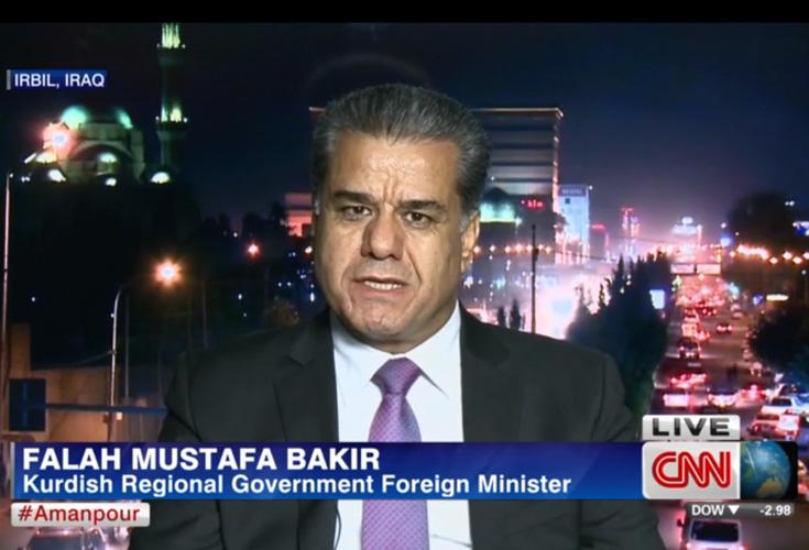 CNN: Minister Falah Mustafa fordert internationales Vorgehen in aktueller Krise
