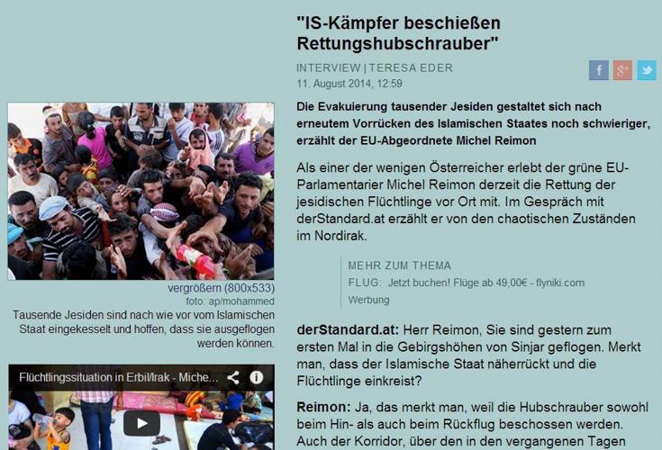 """DER STANDARD Interview – """"IS-Kämpfer beschießen Rettungshubschrauber"""""""
