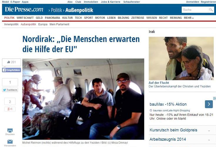 """DIE PRESSE Interview – """"Nordirak: Die Menschen erwarten die Hilfe der EU"""""""