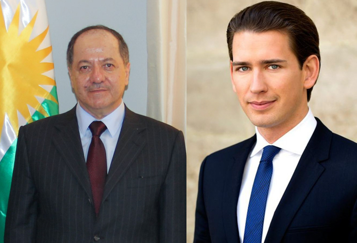 President Barzani discusses humanitarian assistance from Austria with Foreign Minister Kurz