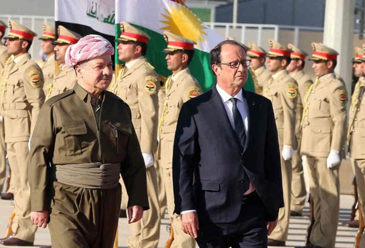 Frankreichs Präsident Hollande besucht die Region Kurdistan