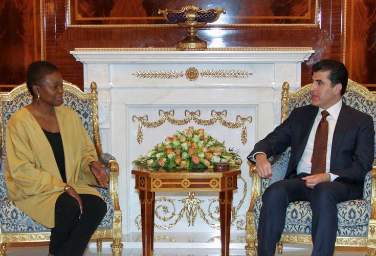 Premierminister Nechirvan Barzani trifft UN-Untergeneralsekretärin Valerie Amos