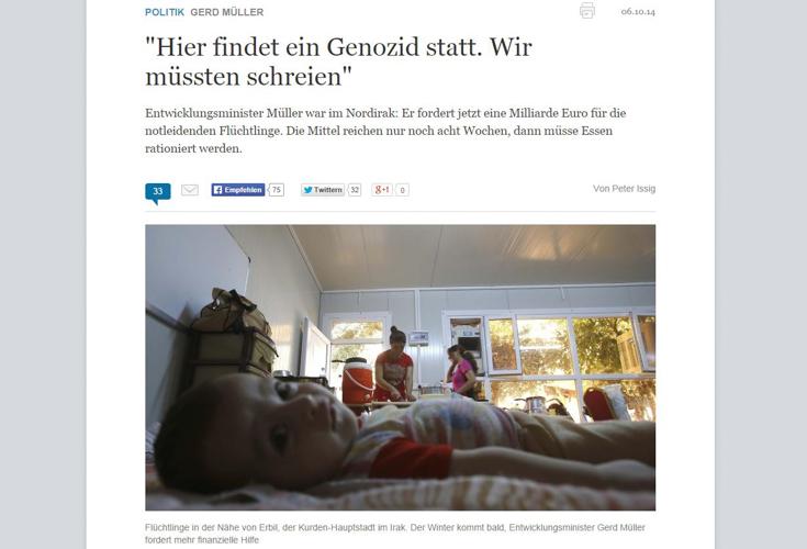 Deutscher Entwicklungsminister fordert mehr Hilfe für Flüchtlinge in Kurdistan