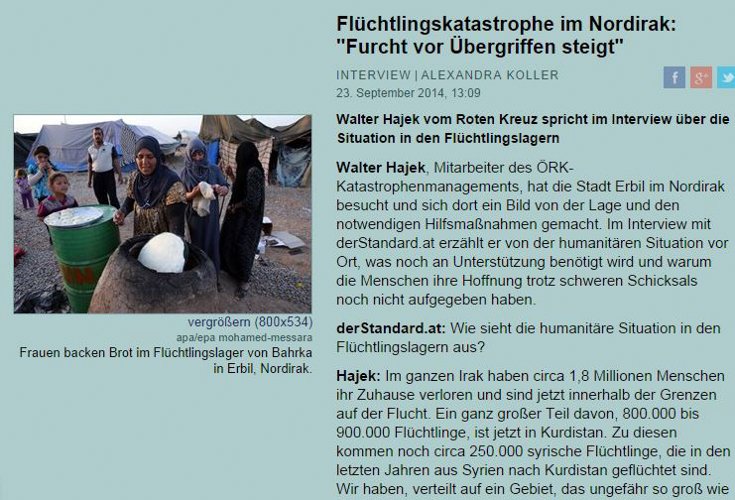 Walter Hajek from the Austrian Red Cross (ÖRK) pictures the situation in the refugee camps in Kurdistan