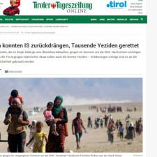 Tiroler Tageszeitung: Kurden konnten IS zurückdrängen, Tausende Yeziden gerettet
