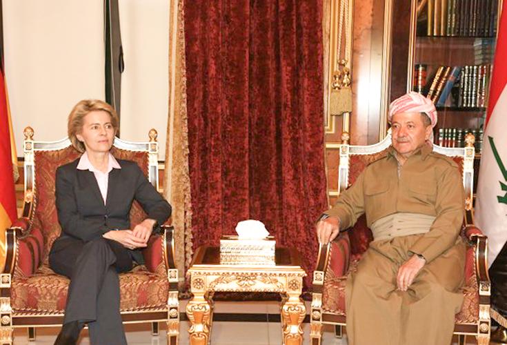 Präsident der Region Kurdistan empfängt deutsche Verteidigungsministerin