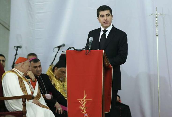 Premierminister Barzani hält Weihnachtsansprache vor geflohenen Christen in Kurdistan