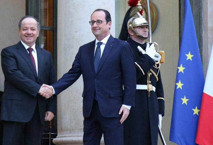 Präsident Barzani trifft französischen Präsidenten Hollande in Paris