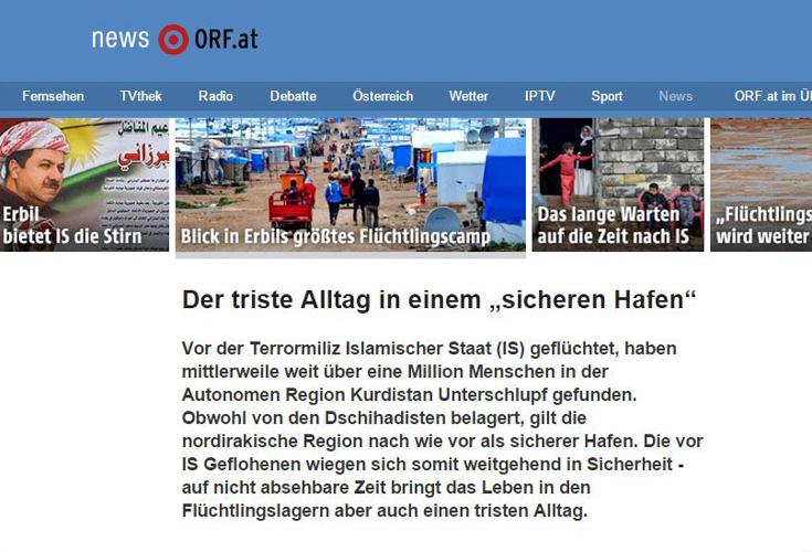 ORF Foto-Reportage zum Alltag von Flüchtlingen in der Region Kurdistan