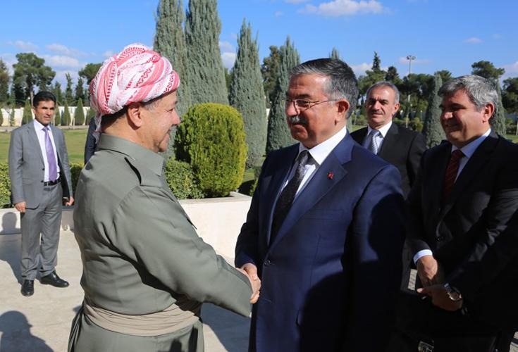Präsident Barzani und Vizepremierminister Talabani empfangen den Verteidigungsminister der Türkei