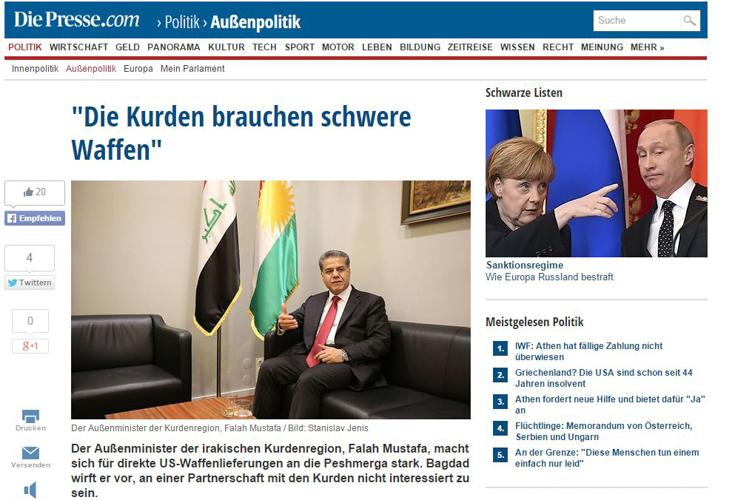 """Die Presse Interview mit Außenminister Falah Mustafa: """"Die Kurden brauchen schwere Waffen"""""""