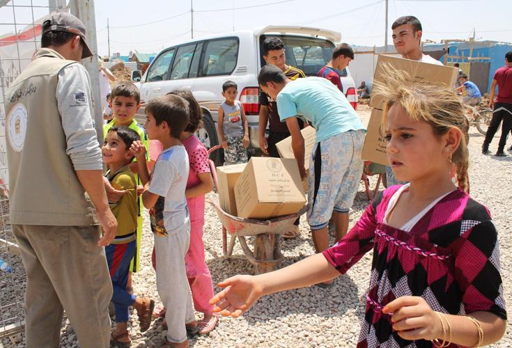 KRG Vertretung verteilt Sachspenden an Vertriebene in der Region Kurdistan