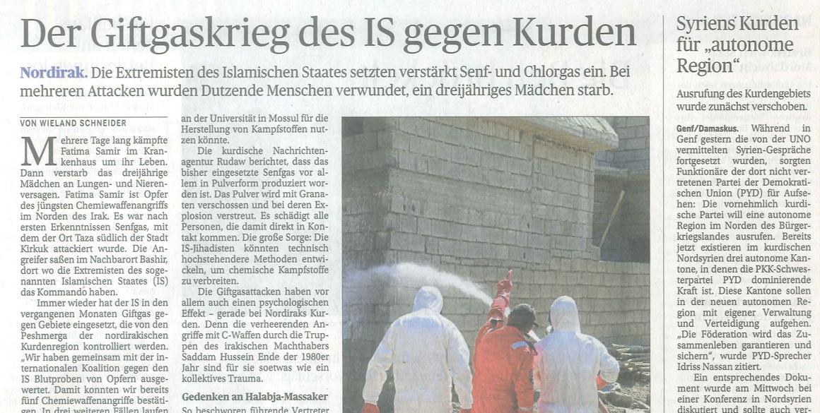 """Die Presse berichtet: """"Der Giftgaskrieg des IS gegen Kurden"""""""