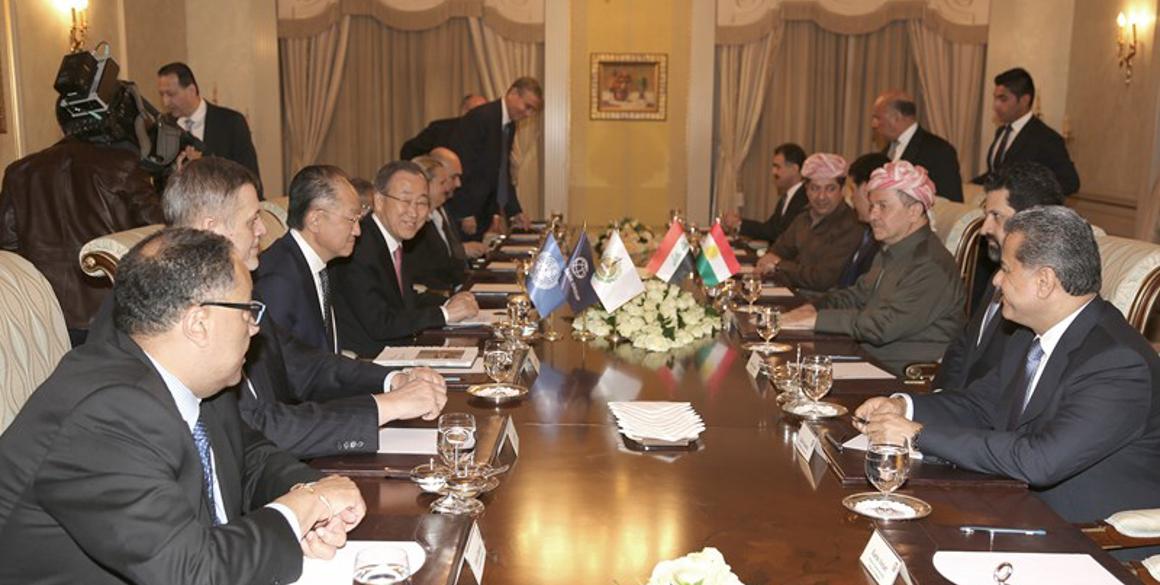 Präsident Barzani empfängt Ban Ki-moon und Leiter weiterer Organisationen