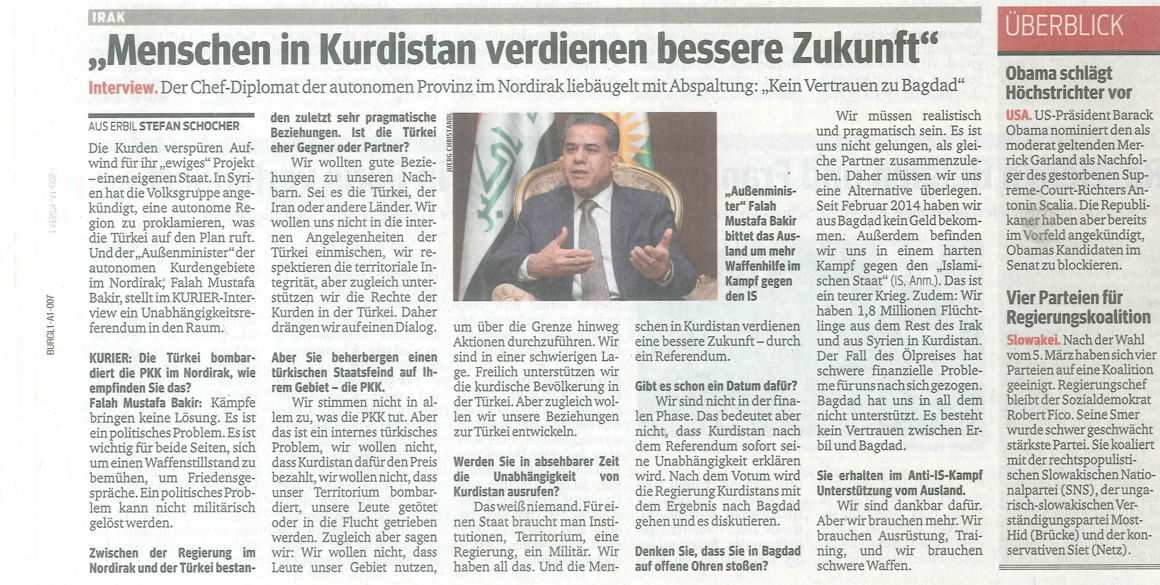 """Kurier Interview with KRG Foreign Minister Falah Mustafa: """"Kurds deserve better future"""""""