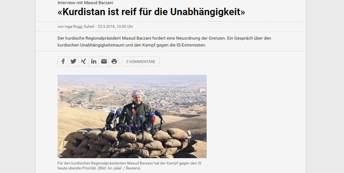 """NZZ Interview mit Präsident Barzani: """"Kurdistan ist reif für die Unabhängigkeit"""""""