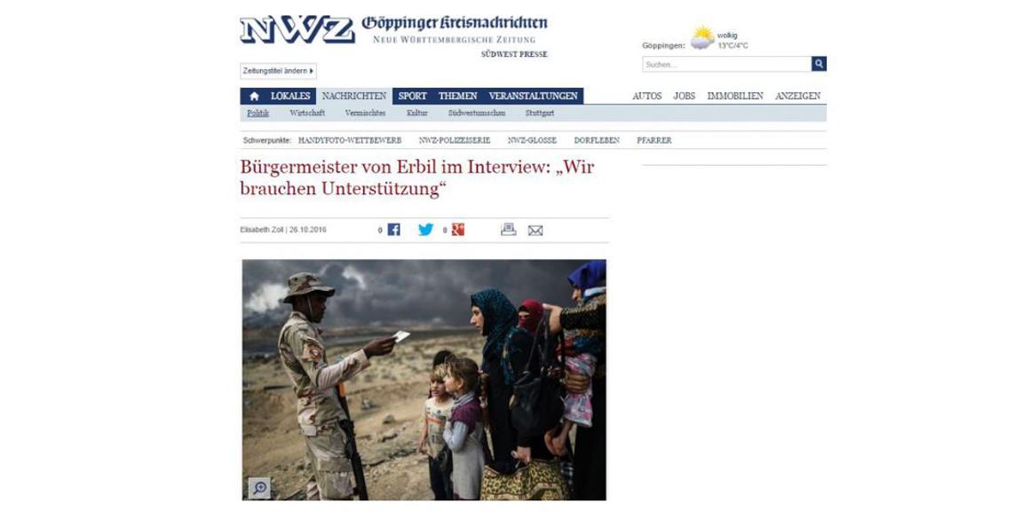 Interview with Erbil's mayor in German newspaper Neue Württembergische Zeitung