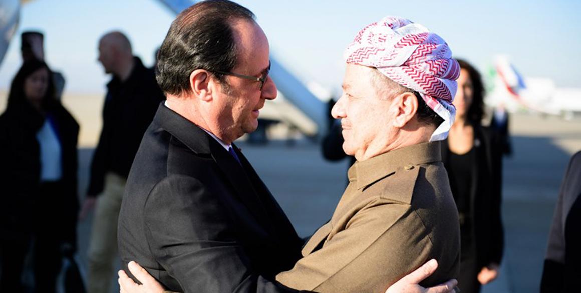 Präsident Barzani empfängt Präsident Hollande in Erbil