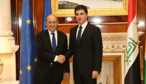 French Minister of Europe and Foreign Affairs Le Drian and PM Barzani discuss Kurdistan's future