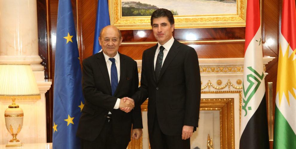 Französischer Außenminister Le Drian und Premierminister Barzani besprechen Kurdistans Zukunft