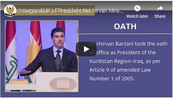 Inauguration of the new President of the Kurdistan Region of Iraq