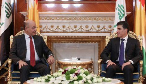 Irakischer Präsident trifft den Präsidenten der Region Kurdistan