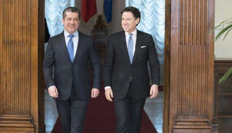 Prime Minister Masrour Barzani meets Italian Prime Minister in Rome