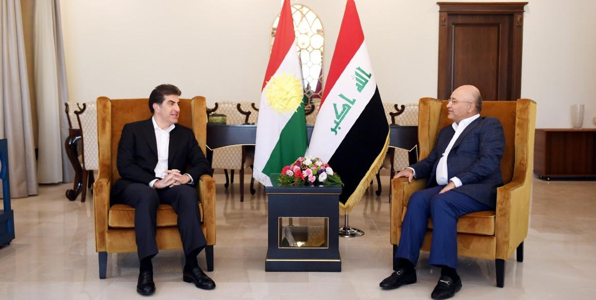 Präsident Nechirvan Barzani trifft sich mit Präsident Barham Salih