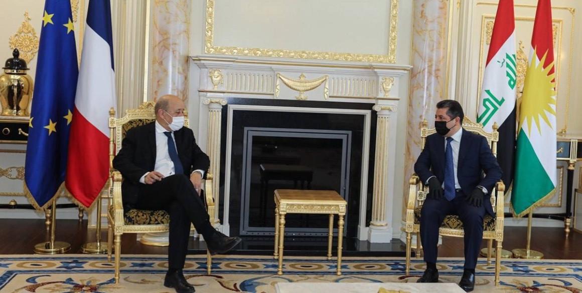 Französischer Außenminister besucht die Region Kurdistan