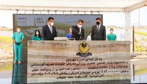 Premierminister Barzani legt den Grundstein für das Krankenhaus in Amedi
