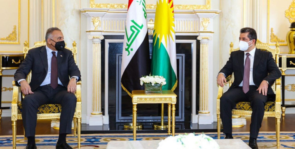 Prime Minister Masrour Barzani receives Iraqi PM Mustafa Al-Kadhimi