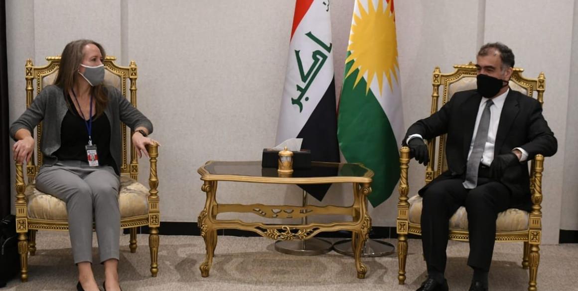 Minister Safeen Dizayee receives Head of UN OCHA in Iraq