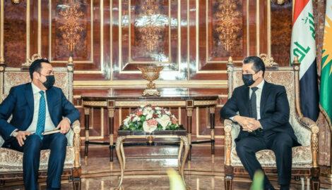 Premierminister Masrour Barzani empfängt den neuen Gouverneur von Erbil