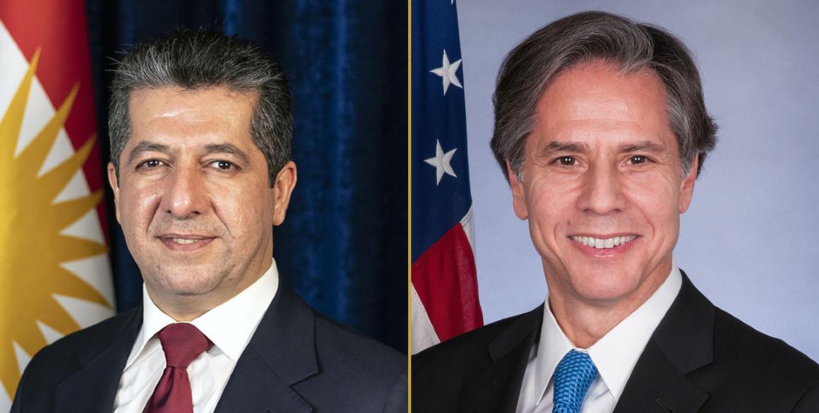 Premierminister Masrour Barzani telefoniert mit US-Außenminister