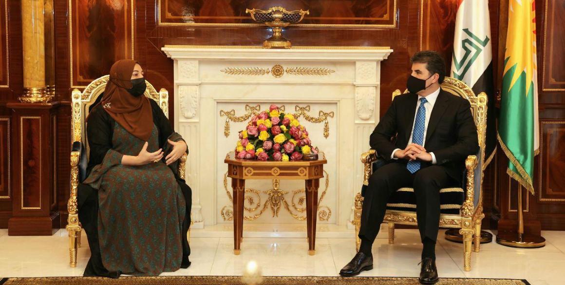 Präsident der Region Kurdistan trifft Parlamentssprecherin