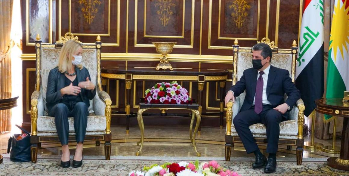 Premierminister Masrour Barzani trifft die Leiterin der EU-Wahlbeobachtungsmission